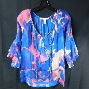 DVF Sheer Floral Top Size 2 with Ruffle Sleeve